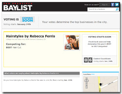 "Rebecca Ferris, Nominated for ""BEST Hair Cut"", SF, Baylist"