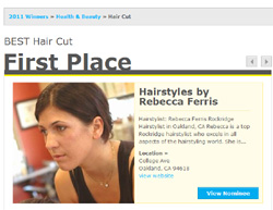 Rebecca Ferris, Winner, BEST Hair Cut, SF, Baylist