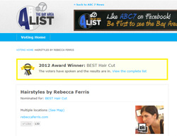 Rebecca Ferris, Winner BEST Hair Cut, ABC 7 Bay Area A-List